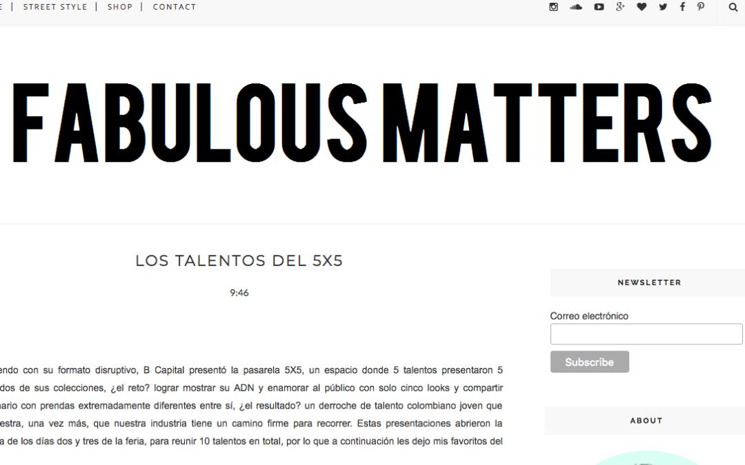 LOS TALENTOS DEL 5X5 – Fabulous Matters
