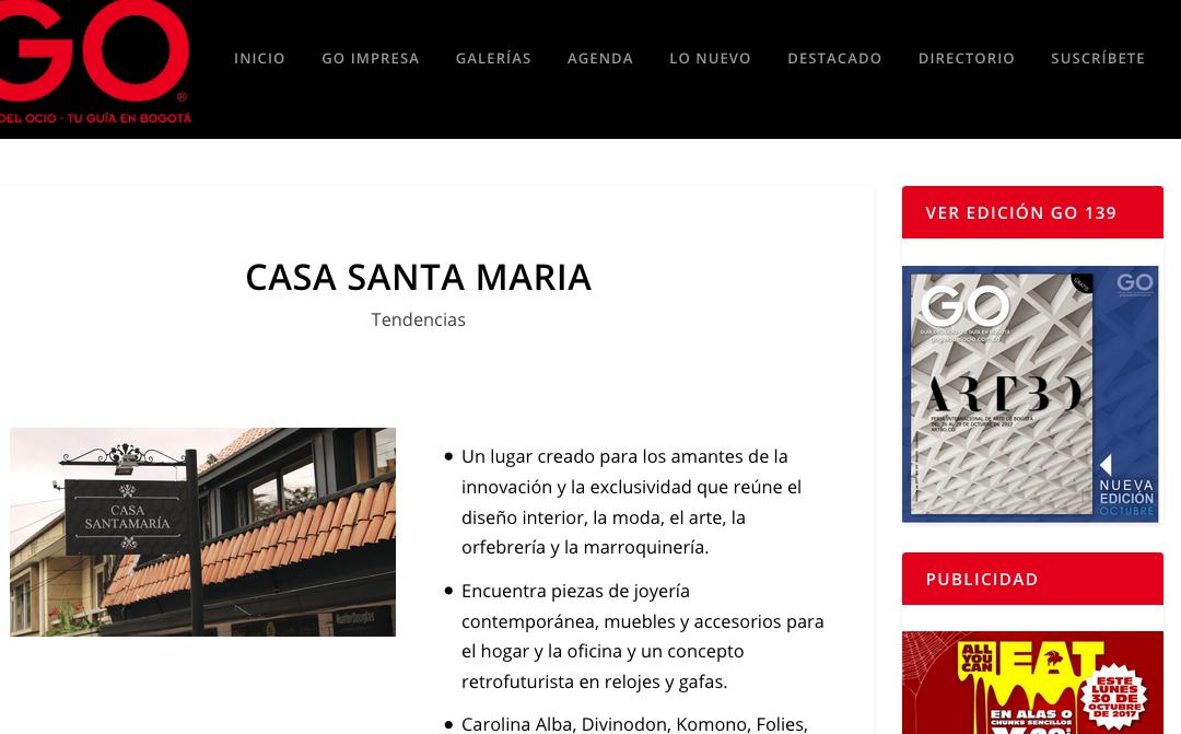 CASA SANTAMARÍA- GO, Guía del Ocio