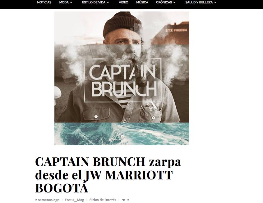 CAPTAIN BRUNCH zarpa desde el JW MARRIOTT BOGOTÁ, Focus Magazine