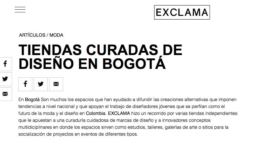 Tiendas curadas de diseño, Revista EXCLAMA, 2017