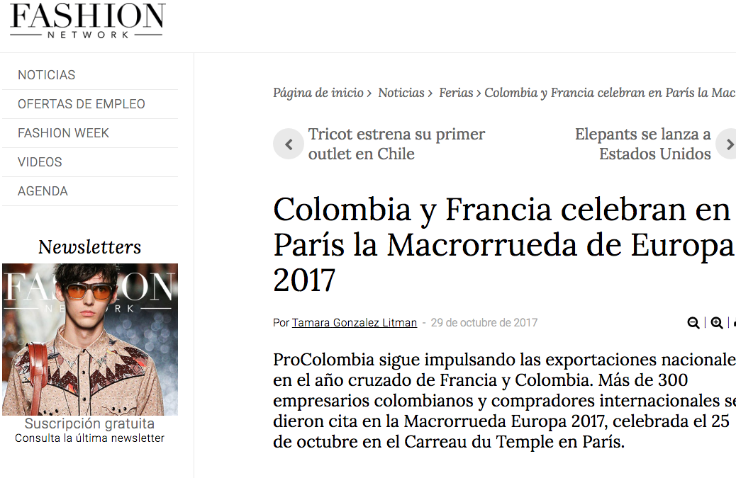Colombia y Francia celebran en París la Macrorrueda de Europa 2017, fashionnetwork.com