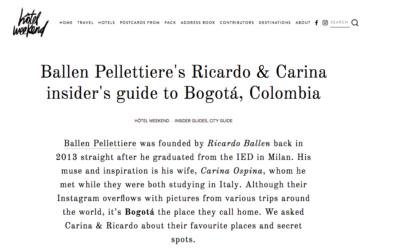 Ballen Pellettiere's Ricardo & Carina insider's guide to Bogotá, Colombia. Hotel-weekend.com